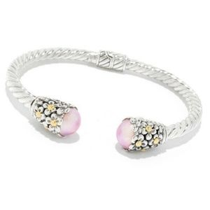 Pearl Cuff Bracelet Bangle Floral Sterling Silver
